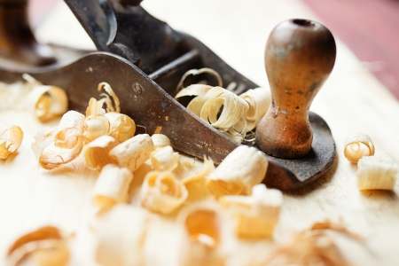 woodworking: Hand jack plane and wood chips  Stock Photo