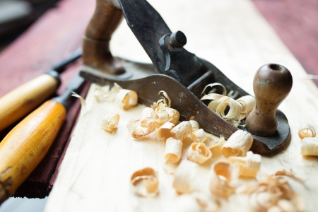 scobs: Hand jack plane and wood chips  Stock Photo