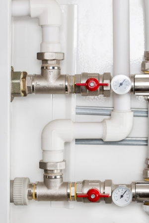 plumbing supply: Detail of Heating System  Stock Photo