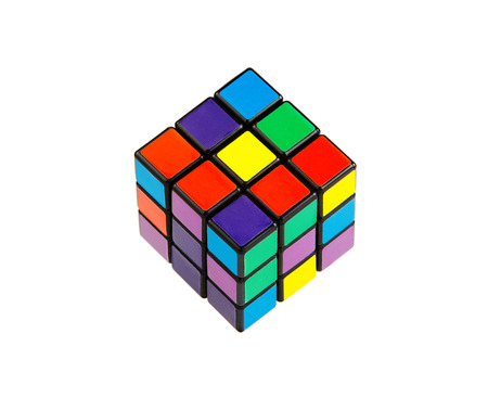 teaser: Six color cube puzzle isolated on white