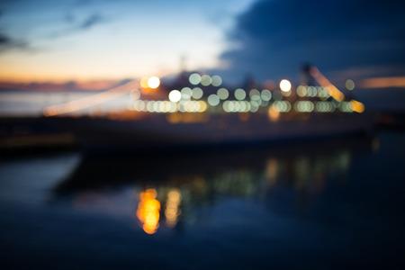 luxury liner: Cruise liner in the harbor at night. Defocused photo
