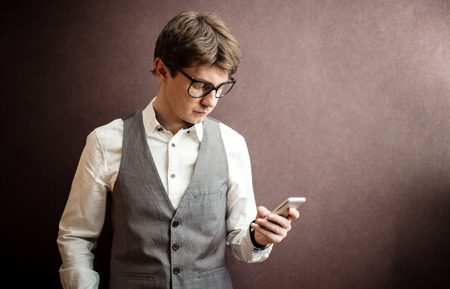 Smart Man using mobile smartphone photo