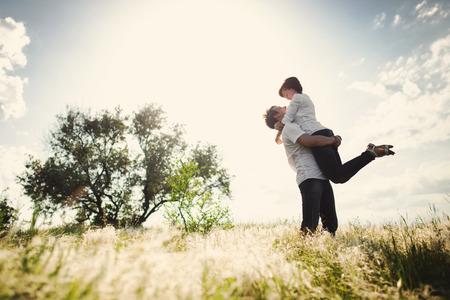 Happy couple outdoor, summertime Stock Photo