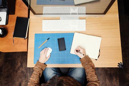 freelance: Freelance developer or designer working at home, workplace view