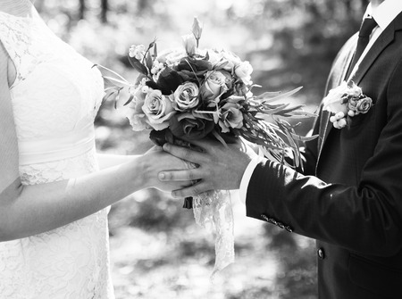 Groom and bride together. Wedding couple. Black and white photo