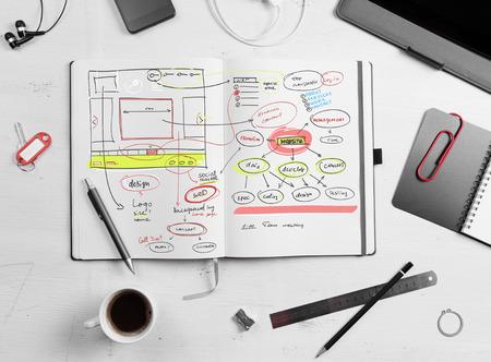 Developer werkplek. Open Kladblok met de hand getekend website project.