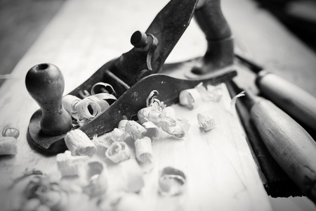 scobs: Hand jack plane and wood chips, bw photo