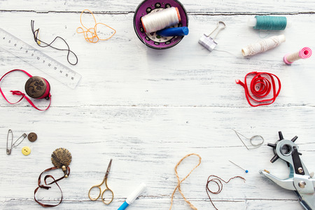 Background with sewing and knitting tools and accesories Stock Photo