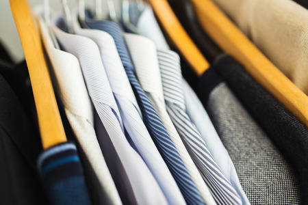drycleaning: Shirts hanging stack,close up