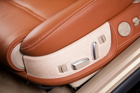 Passenger seats in modern  comfortable car, close up photo photo