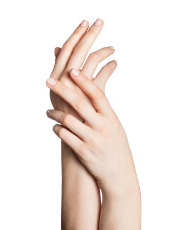 Mooie vrouw handen geïsoleerd op een witte achtergrond