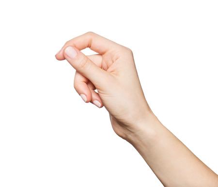 Mano sosteniendo algo de la mujer, aislado en blanco