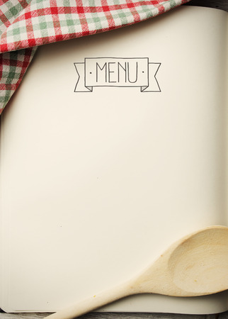 pastries: Blank menu book on wooden table Stock Photo