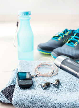 Pair of sport shoes and fitness accessories. Fitness concept Stock Photo