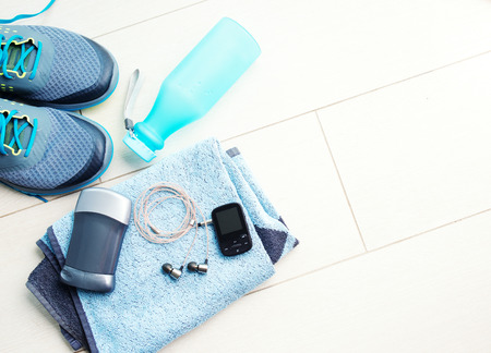 marathon: Pair of sport shoes and fitness accessories. Fitness concept Stock Photo