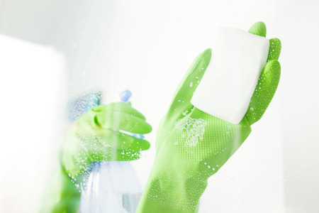 window pane: Cleaning window pane with detergent, cleaning concept