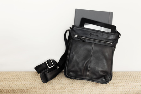 Modern man accessories. Things from open bag