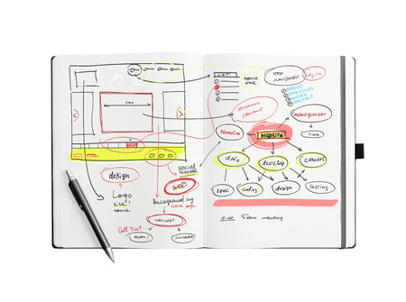 the programmer: Open notepad with hand drawn website project isolated on white.