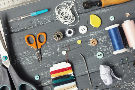 sewing supplies: Background with sewing and knitting tools and accesories Stock Photo