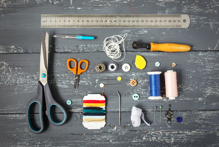 fashion design: Background with sewing and knitting tools and accesories Stock Photo