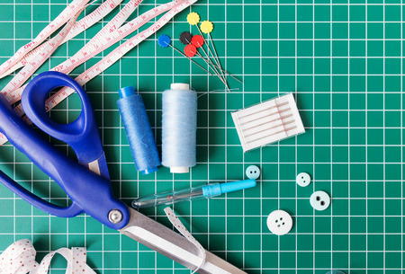 sewing supplies: Patchwork sewing tools on green mat