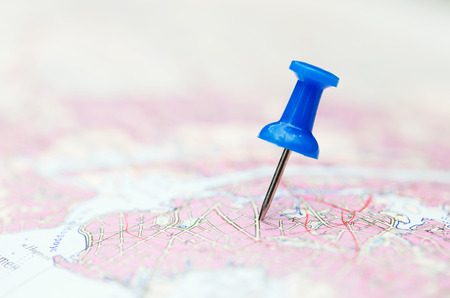 Travel destination, blue  pin on the map Stock Photo - 44001569