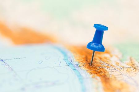 Cílové místo cesty, modré kolík na mapě