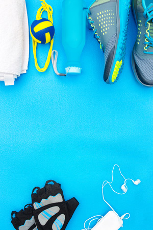 Different tools and accessories for sport. Fitness concept