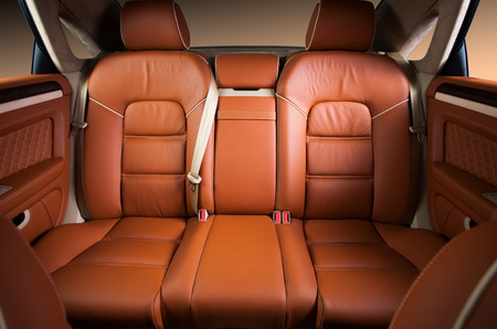 seat belt: Back passenger seats in modern comfortable car