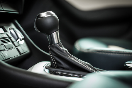 gearstick: Modern car interior, gearstick close up photo