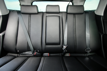 suede belt: Back passenger seats in modern comfortable car
