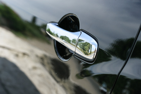 Car door handle close up photo
