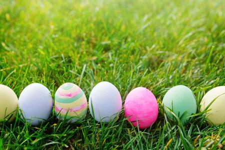 huevo: Huevos de Pascua en la hierba verde, el concepto de Pascua