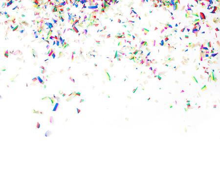 birthday backdrop: Colorful confetti on white background