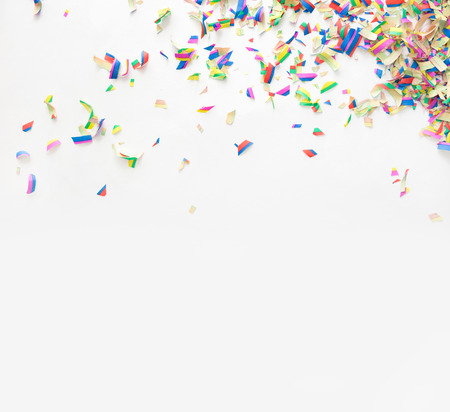 birthday celebration: Colorful confetti on white background