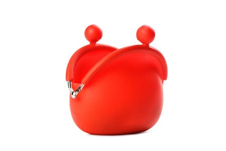 red purse: Red purse on white background