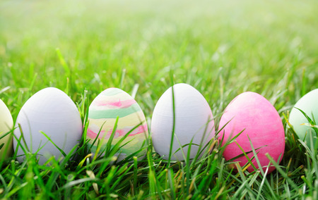 painted background: Easter eggs in green grass, easter concept Stock Photo