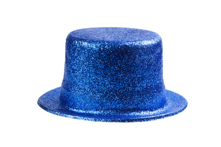 blue and white: Blue glitter party hat isolated on white