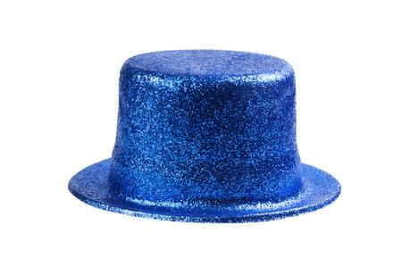 carnaval: Sombrero del partido del brillo azul aislado en blanco Foto de archivo