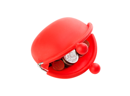 the outmoded: Red purse on white background