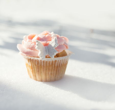 gumpaste: Outdoor photo of cupcake decorated with a sugar butterfly. Cupcake standing on fresh snow at sunny winter day.