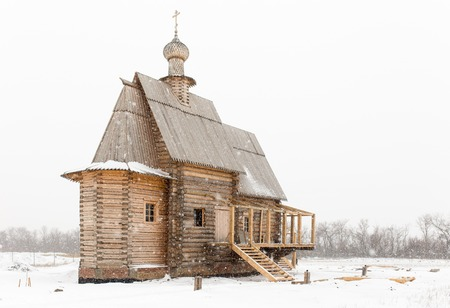 old church: Wooden old church in Russia at winter