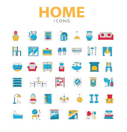 Hauptikonen, Haus verwandte Objekte, Symbole in Farbe, Linienstil, 40 Stück Vektorgrafik