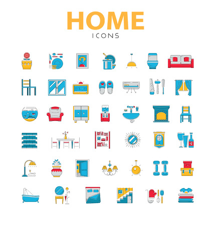 cooler boxes: Home icons, house related objects, icons in color, line style, 40 pieces Illustration
