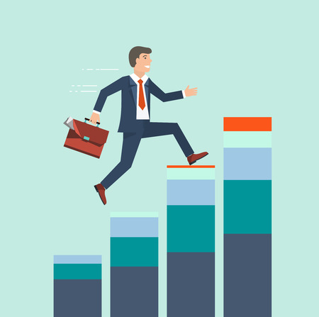 success concept: Businessman climbing rising stock to success concept. Business growth concept