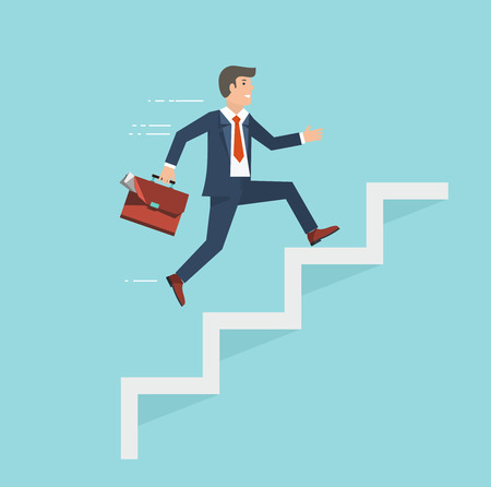progress: Businessman with suitcase climbing the stairs of success. Flat style illustration.