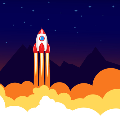 booster: Space rocket launch.  Start up or science concept. illustration