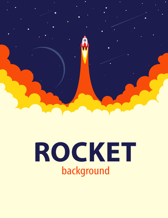 rocket ship: Space rocket launch.  Start up or science concept. illustration
