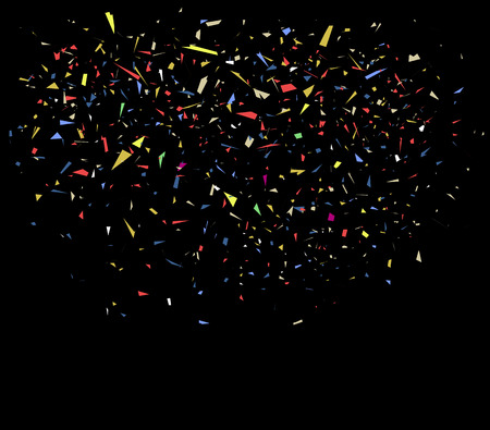 welcoming: illustration of colorful confetti on black background Illustration