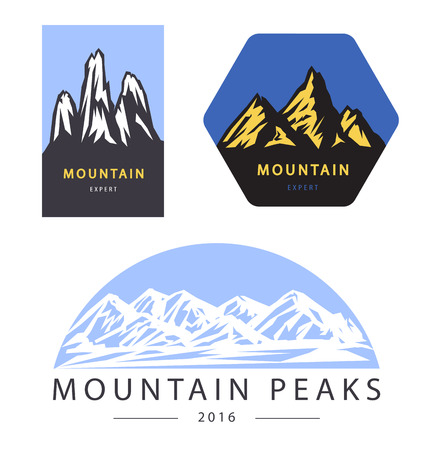 Set of mountain adventure and expedition labels